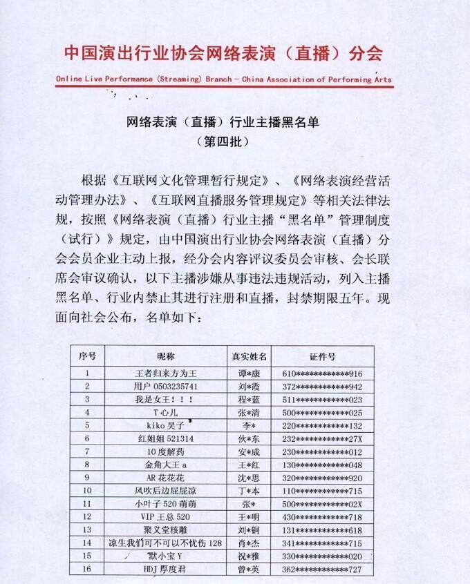 网络直播行业第四批主播黑名单,猡鹿鹿等42名主播被封禁5年