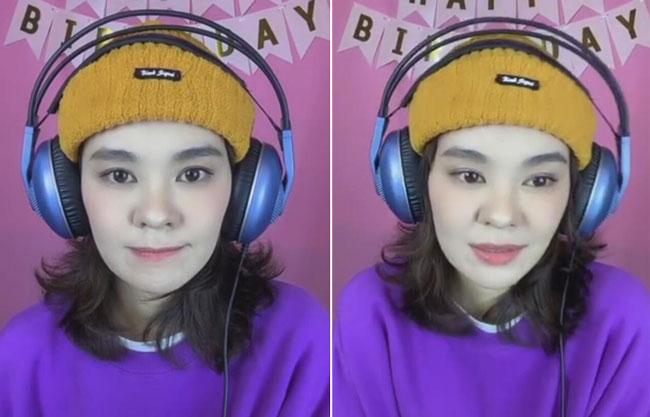 郁可唯生日直播,与粉丝同庆生,紫色卫衣小黄帽很接地气